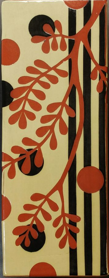 Leafy Wall Panel with Black Stripes and Spots