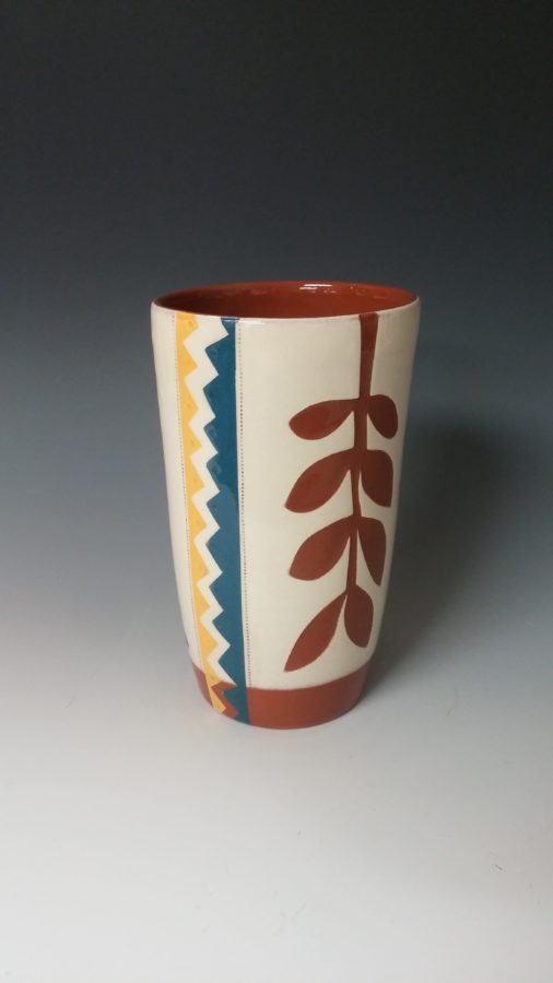 Cheerful Pint Sized Tumbler With Leafy Cutout and Zigzags
