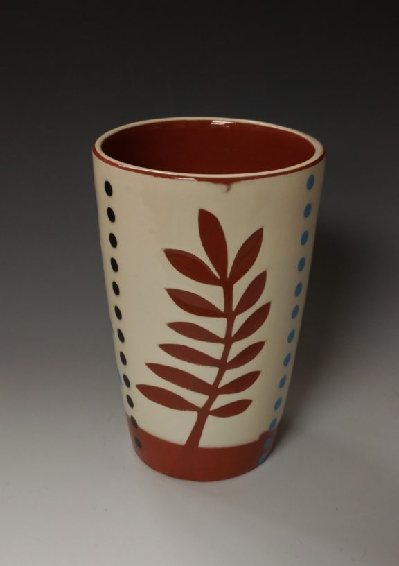 Pint Sized Tumbler with Dancing Red Leaf and Dots