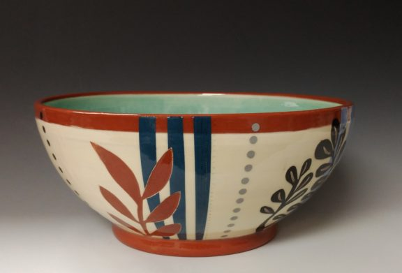 Large Serving Bowl with Leafy Cutouts Blue Stripes and Dots