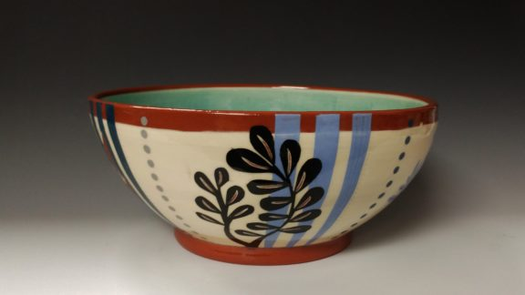 Large Serving Bowl With Black Leafy Cutout Blue Stripes and Dots