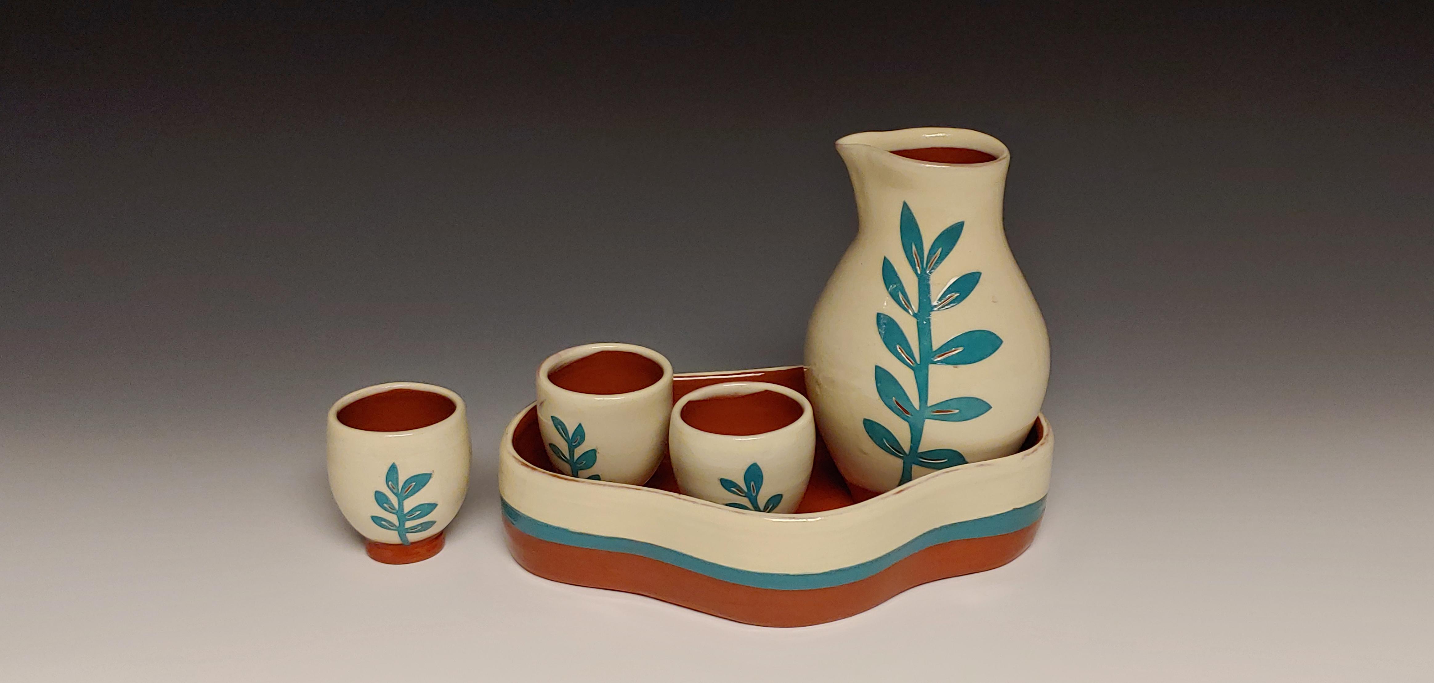 Turquoise Leafy Sake Set with Tray