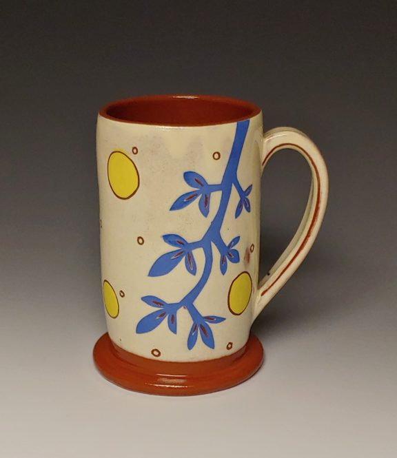 Cheerful Mug with Blue Branch and Yellow Spots