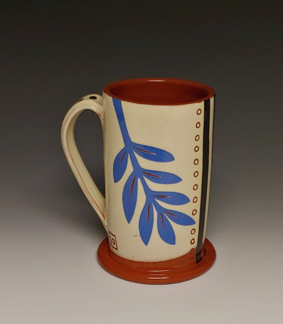 Cheerful Mug with Blue Leafy Cutout Dots and Back Stripe