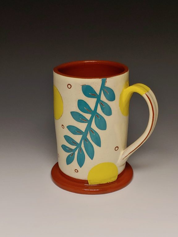 Cheerful Leafy Mug with Yellow Spots