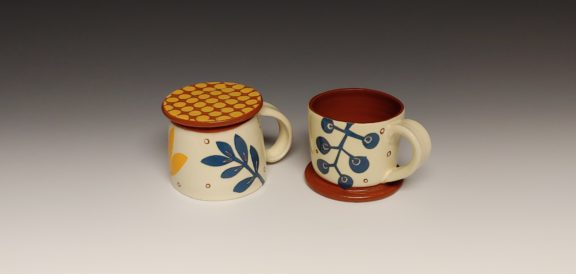 Two Cheerful Espresso Cups, Bottom Up