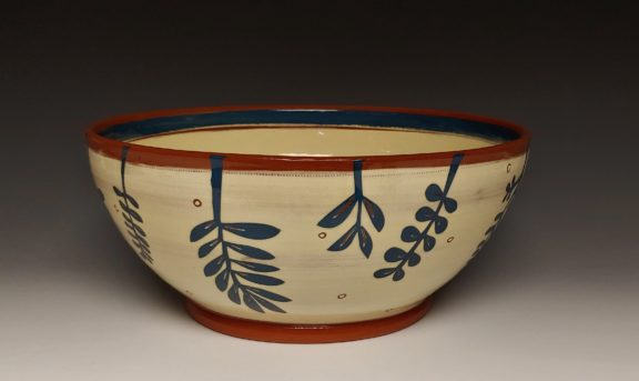 Large Serving Bowl With Dark Blue Leafy Cutouts Interior Band and Dots