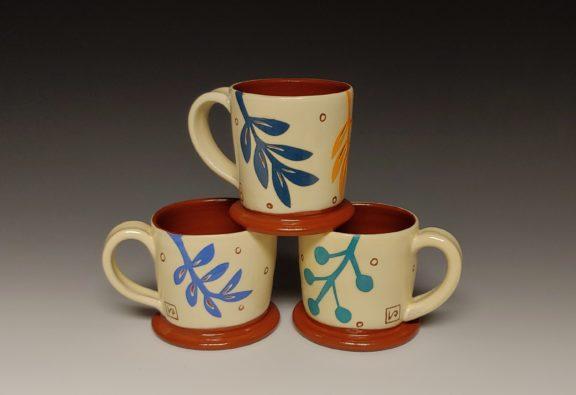 Three Cheerful Leafy Espresso Cups