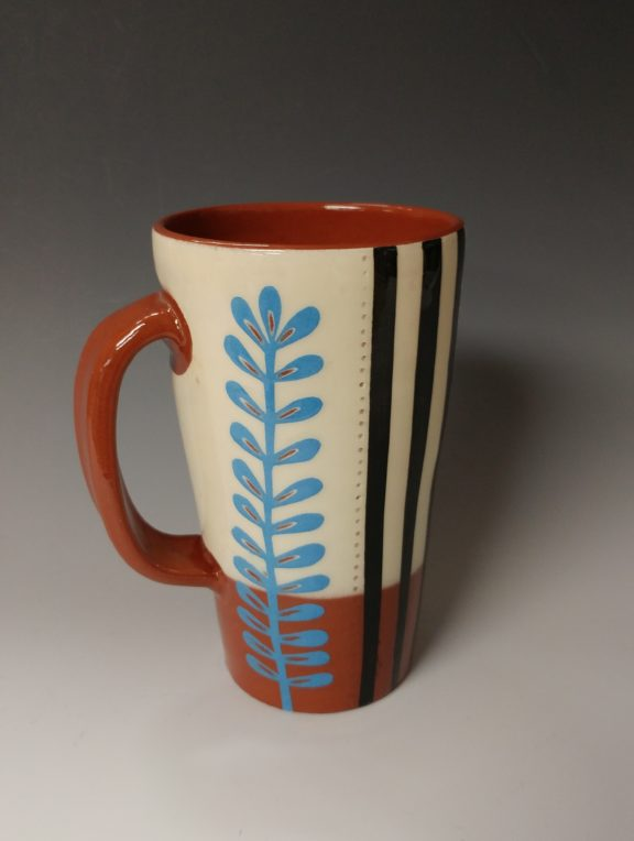 Tall Mug with Leafy Cutout and Stripes