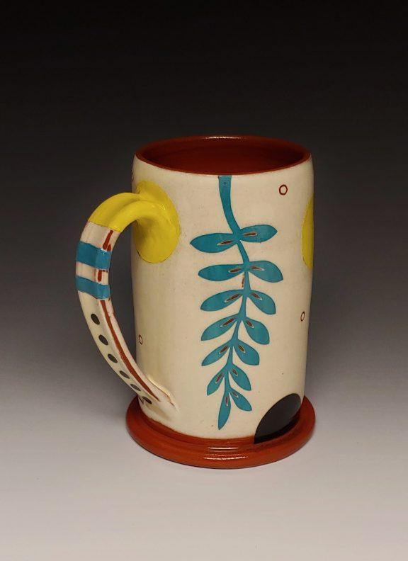 Cheerful Leafy Turquoise and Yellow Mug