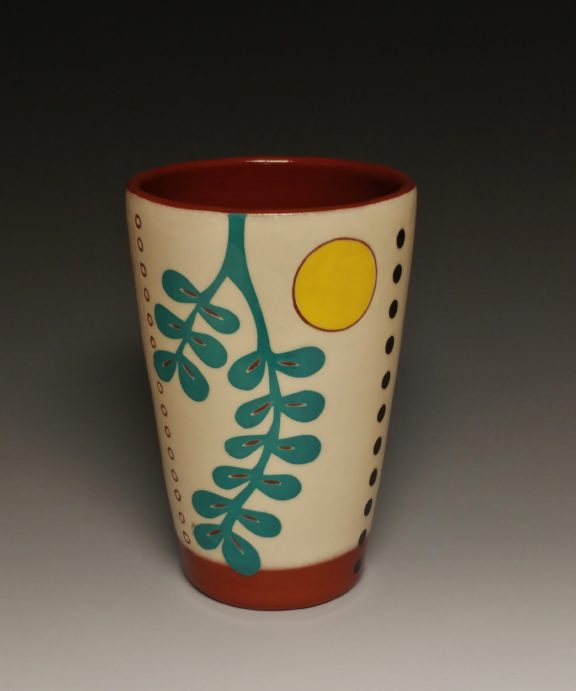 Cheerful Pint sized Tumbler with Turquoise Leaf and Yellow Spot