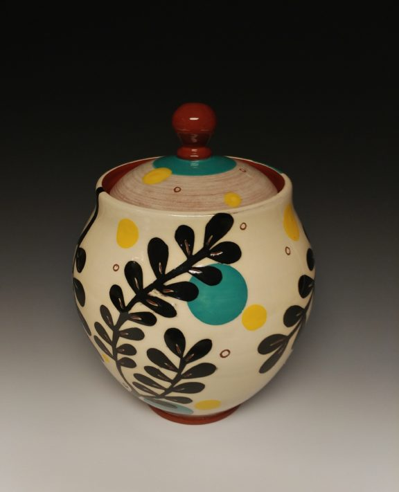 Lidded Leafy Jar with Spots