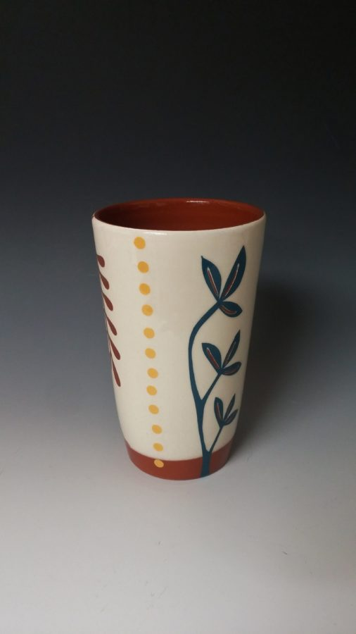 Cheerful Pint Size Tumbler with Blue Plant and Yellow Dots