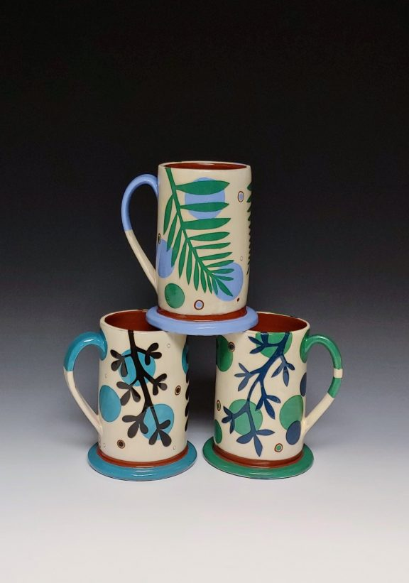 Three Turquoise Blue and Green Leafy Mugs