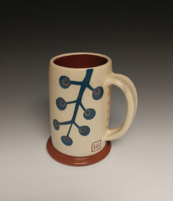 Cheerful Mug With Blue Berry Branch and Yellow Dots