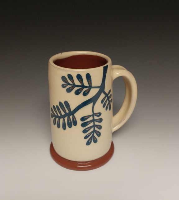 Leafy Mug with Blue Branch