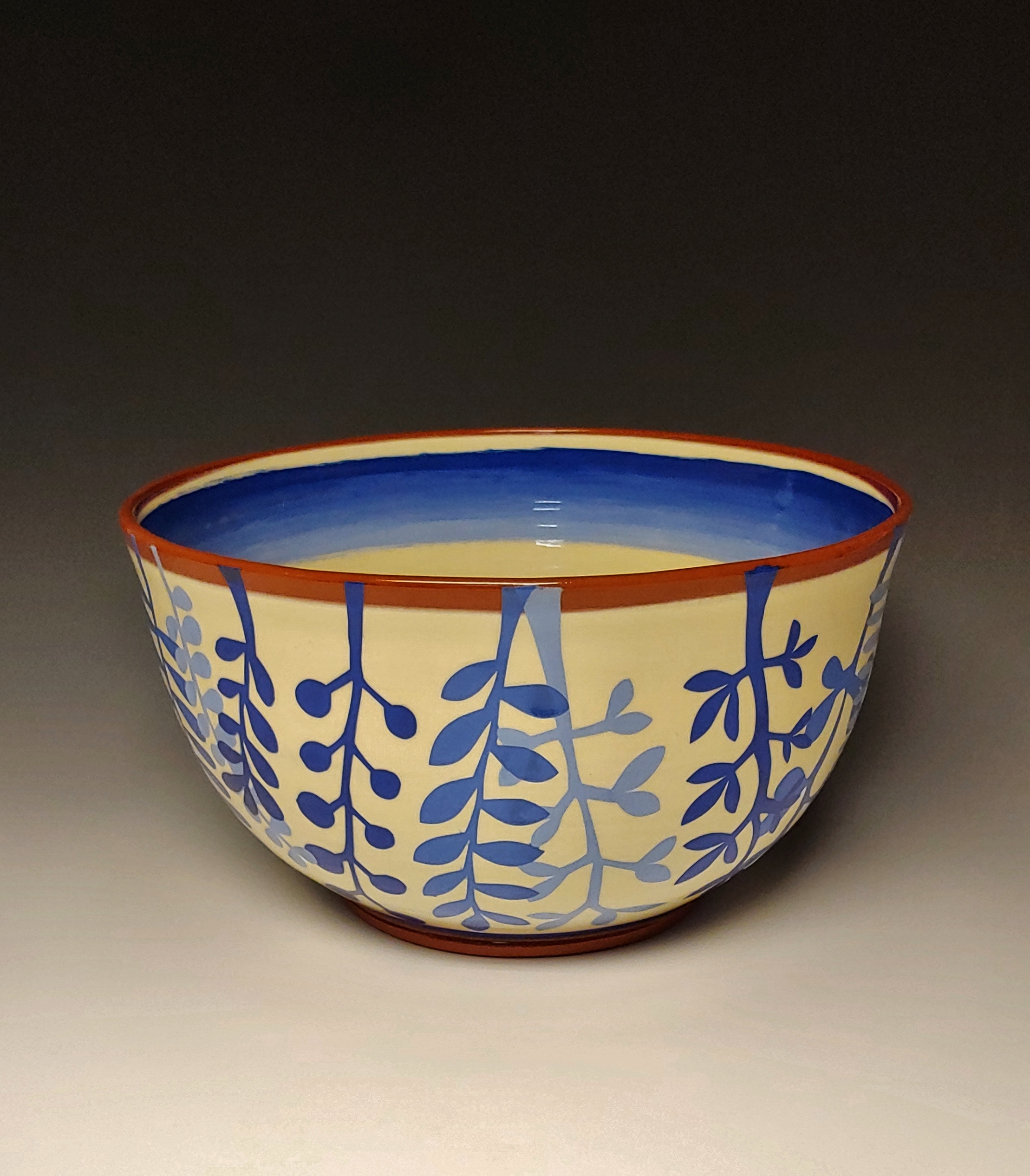 Large Leafy Blue Serving Bowl