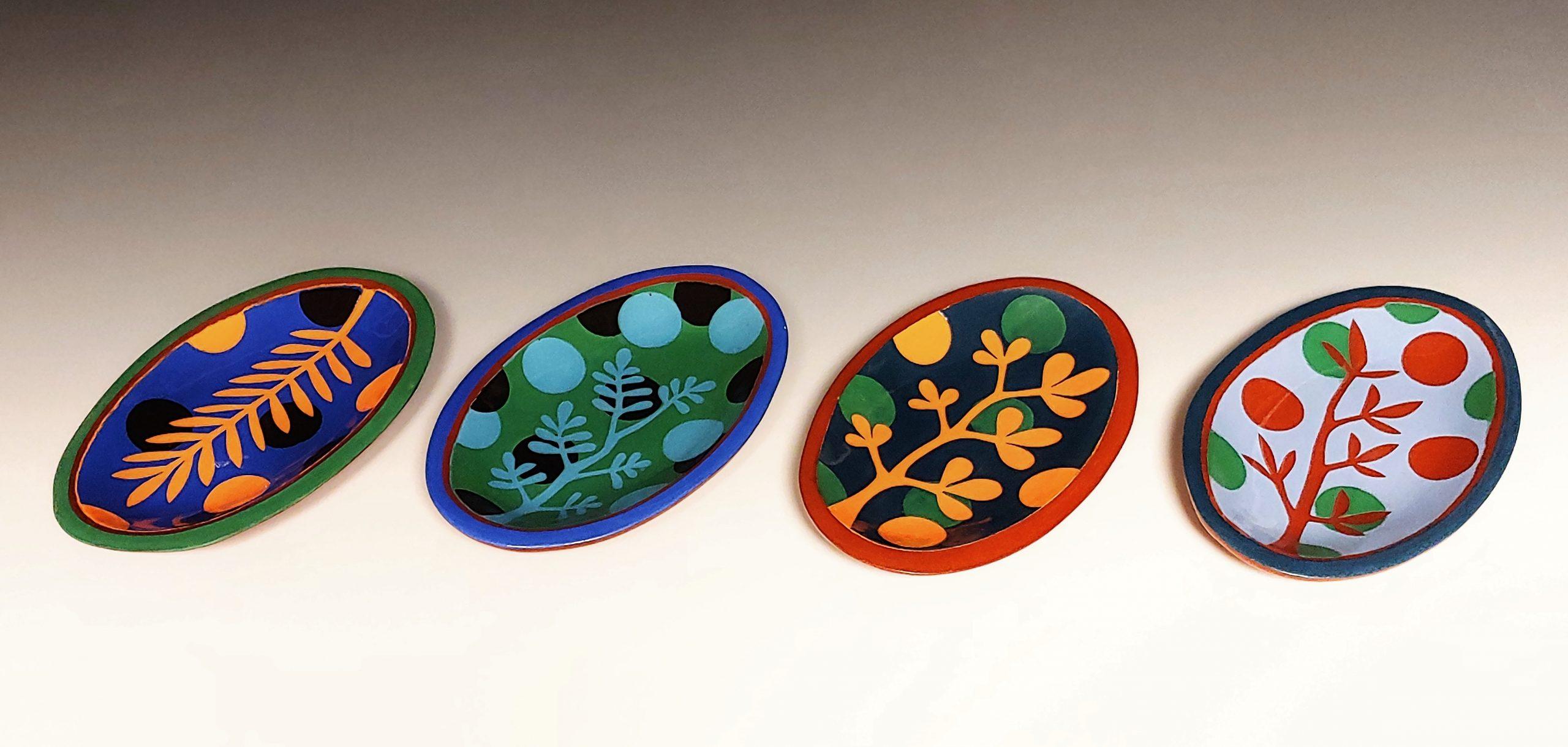 Four Mini Oval Leafy Colorful Dishes