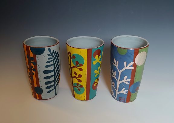 Three Leafy Tumblers Gray, Yellow and Blue Green