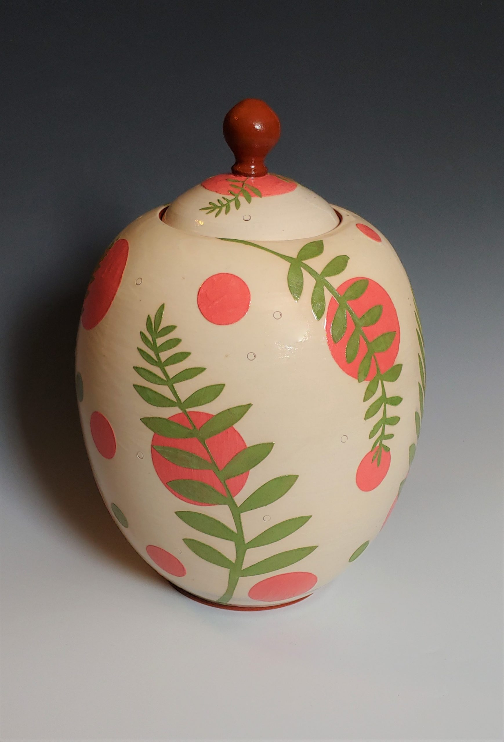 Green and Pink Leafy Lidded Jar