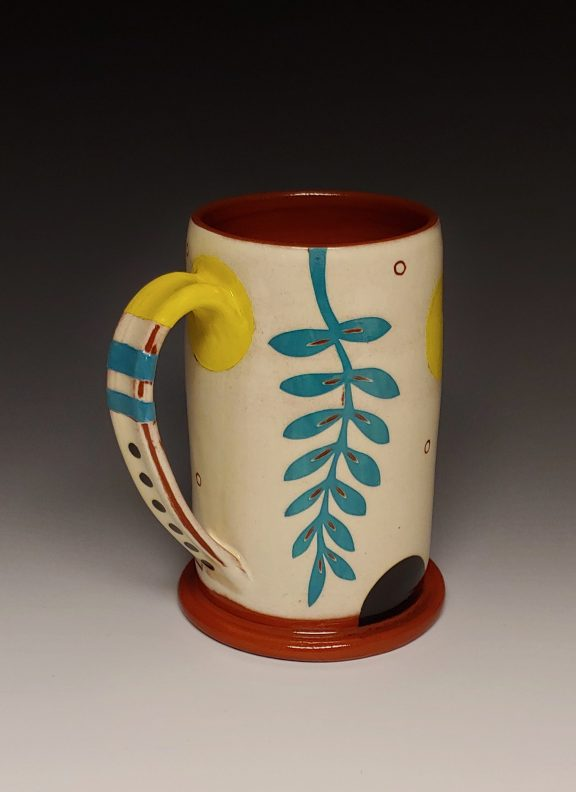 Cheerful Leafy Turquoise and Yellow Mug