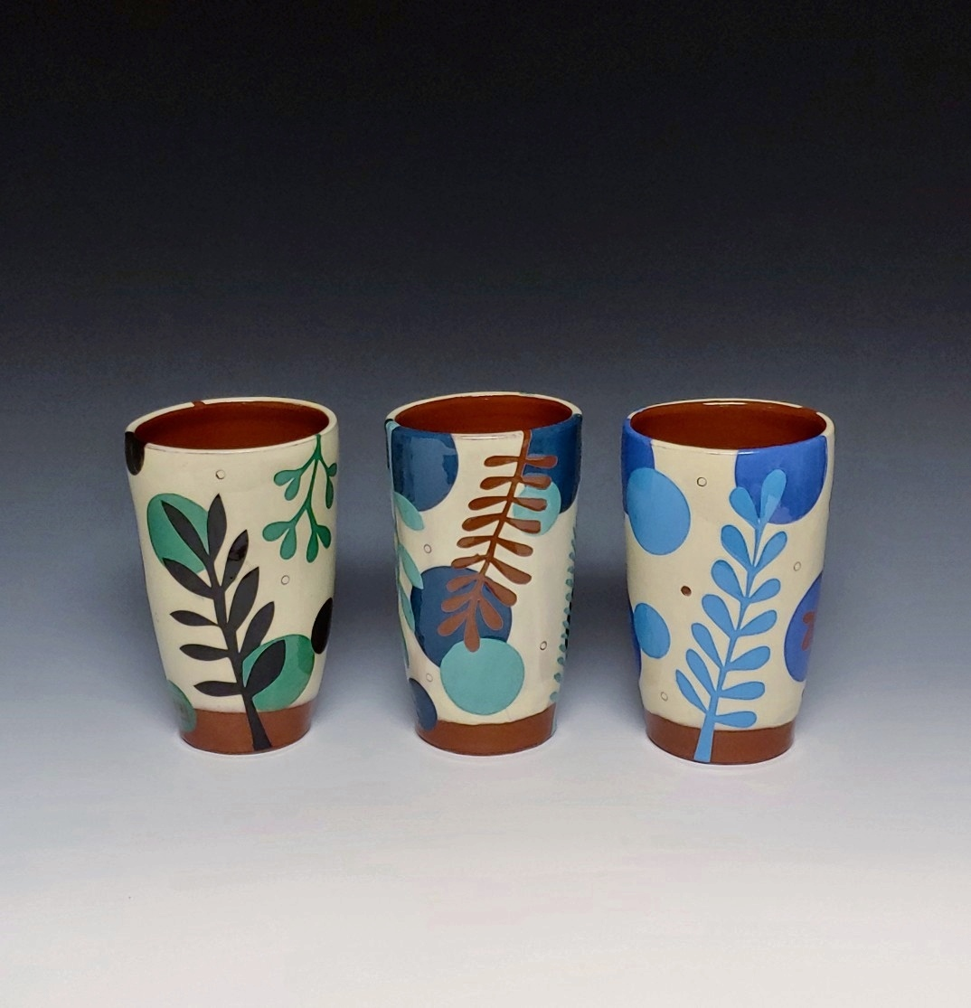 Three Blue and Green Leafy Tumblers