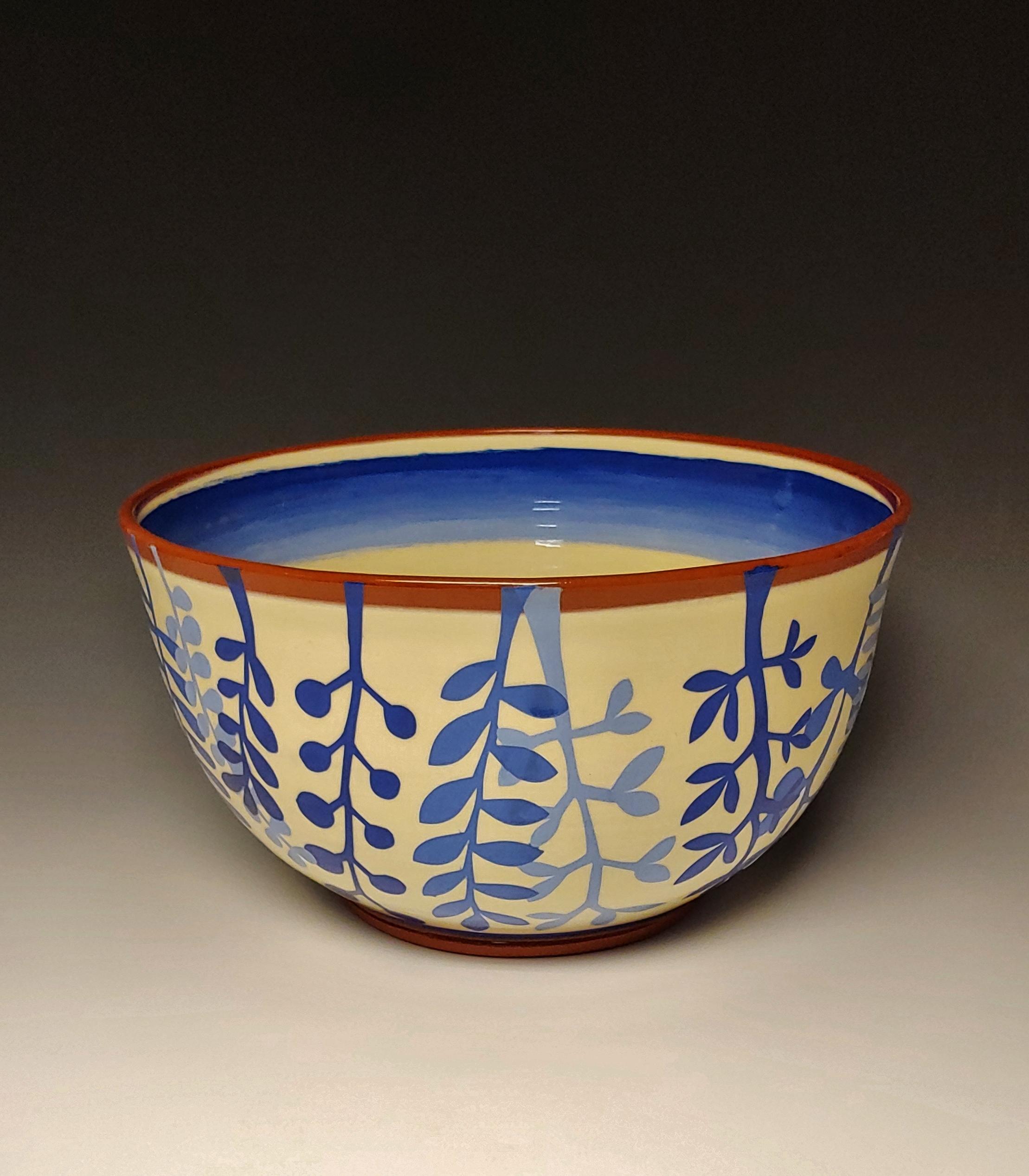 Large Leafy Blue Serving Bowl